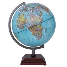 The Odyssey globe by Waypoint Geographic features an up-to-date 12-inch Blue Ocean globe with Silver finished metal and numbered meridian. The square three tier stepped wood base compliments the globe which can be used for reference and decor.