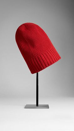 $195, Red Beanie: Burberry Fisherman Rib Cashmere Beanie. Sold by Burberry. Click for more info: https://lookastic.com/women/shop_items/34489/redirect