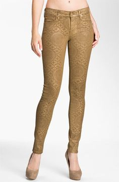 7 For All Mankind® Coated Print Skinny Jeans (Gold Artisan) available at #Nordstrom