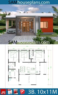 House Plans with 3 Bedrooms - Sam House Plans - Architektur - Pinnwand Modern House Floor Plans, Barn House Plans, Luxury House Plans, Bedroom House Plans, Simple House Plans, Bungalow Haus Design, Modern Bungalow House, Bungalow House Plans, Tiny House