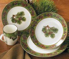 Rustic Cabin u0026 Lodge Dinnerware » Pinecone 16 Piece Dinnerware Set & rustic dinnerware sets clearance   ... » Rustic Cabin u0026 Lodge ...