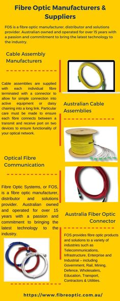 Fibre Optic Systems(FOS) is a fibre optic supplier & manufacturer in Australia, specialising in fibre optic cords, cables & fibre optic test equipment Fiber Optic Connectors, Communication, Cable, Technology, Infographics, Copper, Delivery, Community, Detail