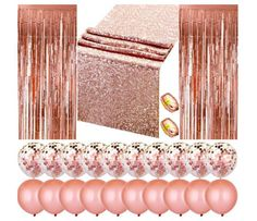 Rose Gold Party Decoration Bridal Shower Birthday Party Foil Fringe Curtains Sequin Table Runner Rose Gold Balloons Party Supplies - New Pin Rose Gold Table, Rose Gold Decor, Rose Gold Party Decorations, Rose Gold Party Supplies, Wedding Supplies, Gold Table Runners, Rose Gold Balloons, Confetti Balloons, Gold Confetti