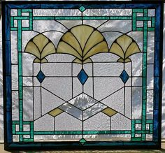 Art Deco Fans stained glass window by AGlassMenagerieEtc on Etsy, $678.00