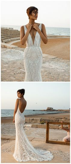 Ready to Wear Galia Lahav Wedding Dresses 2017: Bourgeois Bohemian. If you're looking for a romantic mermaid dress, then your best pick of the Galia Lahav Wedding Dresses 2017 has to offer is no doubt going to include this gown. The dramatic, plunging v-neckline is combined with elegant long sleeves, and a eye-catching keyhole back. Playful cutouts, geometric embroidery and Italian lace! See more here http://www.confettidaydreams.com/ready-to-wear-galia-lahav-wedding-dresses-2017/