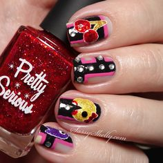 Ms Pac Man Nail Art - Negative Space - freehand design - video game nails tutorial | Sassy Shelly