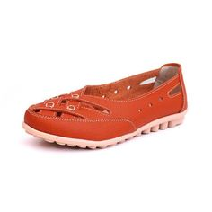 Leather Hollow Out Breathable Dot Knitting Soft Comfortable Slip On Flat Shoes