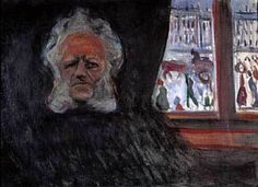 Henrik Ibsen at the Grand Café - paintings by Edvard Munch - Wikimedia Commons Edvard Munch, Royal National Theatre, List Of Paintings, Promenade Des Anglais, Artist, Wikimedia Commons, Self Portraits, Oil On Canvas, Board