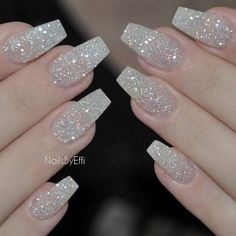 There are three kinds of fake nails which all come from the family of plastics. Acrylic nails are a liquid and powder mix. They are mixed in front of you and then they are brushed onto your nails and shaped. These nails are air dried. Glitter Tip Nails, Sparkly Nails, Pink Nails, Silver Sparkle Nails, Silver Acrylic Nails, Gold Manicure, Glitter Acrylics, Clear Nails, Glitter Nails