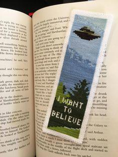I want to believe bookmark X-files cross stitch