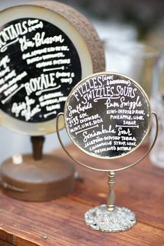DIY Antique mirror chalkboard menus