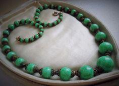Antique Deco early Napier Peking Glass Bead Necklace Intricate End Caps Est Lot #Napier
