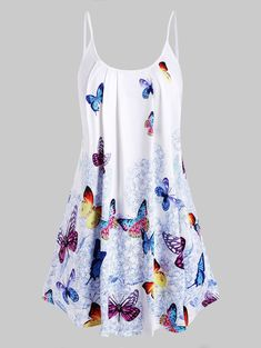 Plus Size Spaghetti Strap Butterfly Print Tank Top at Diyanu Plus Size Tank Tops, Plus Size Blouses, Tops Boho, Shirt Collar Styles, Lace Up Tank Top, Women's Plus Size Swimwear, Fashion Seasons, Printed Tank Tops, Women's Fashion Dresses