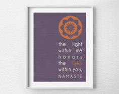 Namaste Print Yoga Print Yoga Studio Decor by LotusLeafCreations