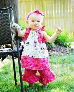 Girls Owl Dress with Pink Trim - Custom Made ANY SIZE - Fancy ruffled neck pillow slip case style tie dress. $21.50, via Etsy.