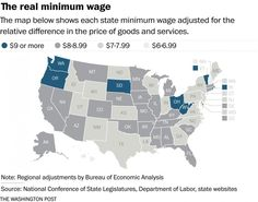 Map: How geography affects the value of the minimum wage - The Washington Post The Minimum, Minimum Wage, The Value, Cost Of Living, The Washington Post, Goods And Services, Geography, Map, History