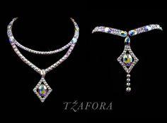 """West End Blues""- Swarovski ballroom necklace. Ballroom dance jewelry, ballroom dance dancesport accessories. www.tzafora.com Copyright © 2017 Tzafora."