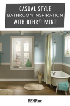 There's nothing like a casual style to turn your bathroom into a relaxed and calming space. To recreate the look of this rustic space, start with Behr Paint in Explorer Khaki, Sleek White, and Oceanic Climate. Click below to learn more.