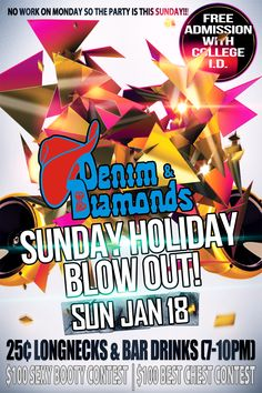 Sunday Holiday Blowout flyer and web graphic design just completed for Denim & Diamonds #nightclub  in Wichita Falls...