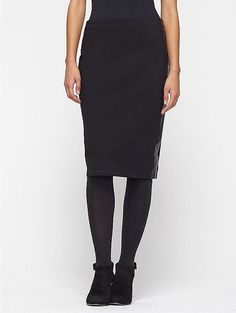 Petite Pencil Skirt in Viscose Stretch Ponte with Leather