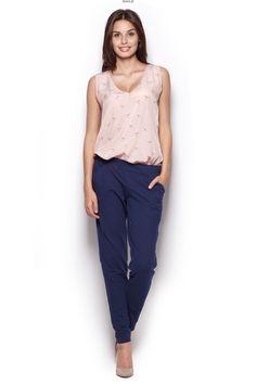 Elegant dark-blue sweatpants with the pockets