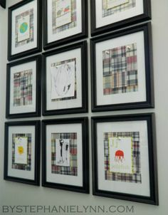magnetic wall gallery using galvanized metal behind picture frames for quick & easy changing of kids' artwork