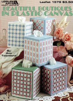 Beautiful Boutiques in Plastic Canvas Leaflet - 5 Tissue Box Designs