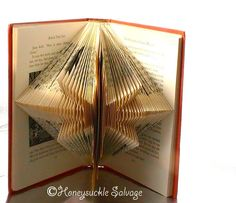 STAR Book Origami -- Christmas Star Folded Book Art -- Holiday Decor Book…