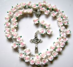 Beautiful Soft Cerami Rose Beads Rosary Cross by elegantmedical
