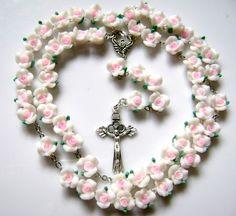 Beautiful Soft Cerami Rose Beads Rosary Necklace by elegantmedical