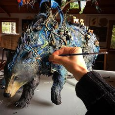 "Working with a mixture of cold porcelain and polymer atop a metal wire armature, artist Ellen Jewett (previously) creates wildly intricate sculptures of animals covered in a tangle of surreal embellishments. The artist describes her works as ""anthrozoology meets psychoanalysis,"" where tiny clues lef"