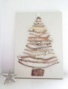 Driftwood christmas tree on canvas or wired together for Christmas cards? Noel Christmas, Winter Christmas, All Things Christmas, Christmas Ornaments, Bird Ornaments, Coastal Christmas, Homemade Christmas, Christmas House Decorations, Homemade Xmas Decorations