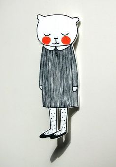 "Anstecker ""Kätzchen Moni"" // Pin cat in dress by maschaa via DaWanda.com"