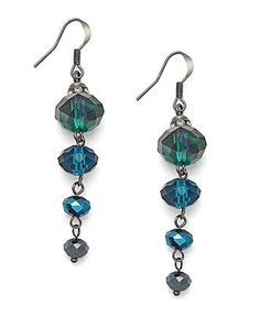 c.A.K.e. by Ali Khan Earrings, Hematite-Tone Peacock Bead Gradual Linear Drop Earrings - Fashion Jewelry - Jewelry & Watches - Macy's