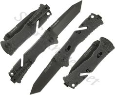 SOG Trident II Black Mini Tanto Knife TF-27 - $46.12