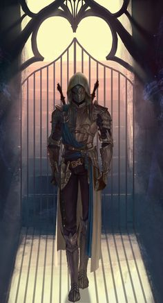 Assassin by HaDong Song Fantasy Male, Fantasy Armor, Dark Fantasy Art, Fantasy Weapons, Fantasy Character Design, Character Design Inspiration, Character Art, Character Concept, Dungeons And Dragons Characters