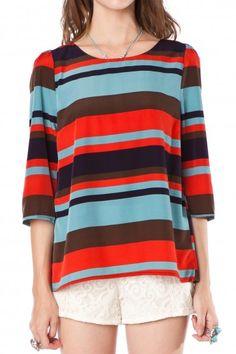 striped boat neck blouse