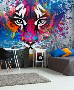 Make an impact in your teenager's bedroom with tiger art wallpaper. It's colourful and fierce and will look great in their teen bedroom. Visit our website for more teenage bedroom ideas and wallpapers