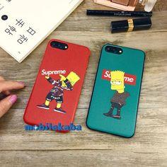 シュプリームxシンプソンズコラボ新品iPhoneX、iPhone8、iPhone7ケース。クールな姿のシンプソンズでカッコイイ!レッド、グリーン2色でカップルにふさわしいケースだ!