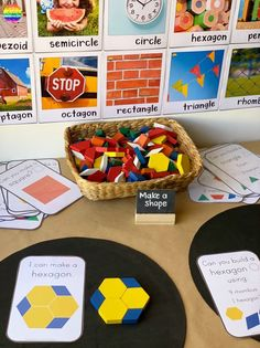 Grab these printable Shape STEM challenge cards to add to your pattern blocks! Kindergarten Centers, Math Centers, Math Stations, Preschool Kindergarten, Hands On Activities, Activities For Kids, Preschool Tables, Teaching Shapes, Create Invitations