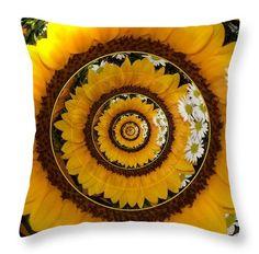 "Mirrored #Sunflower under glass Throw Pillow 14"" x 14"" .... #sale #gifts #interiordesign #interiordecoration #decor #home #pillows #artwork #Christmas #presents #Artist4God #RoseSantuciSofranko"