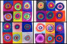 4e année - inspiration Kandinsky - art abstrait - pastilles d'aquarelle - coloration et techniques de pinceaux