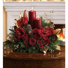 Candlelit Christmas Flower Arrangement - Teleflora