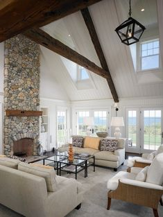 stone fireplace ideas living room design cathedral ceiling exposed beams