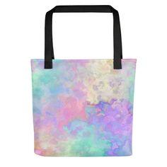 Pastel Goth Rainbow Watercolor Beach Bag Tote Bag Fairy Kei