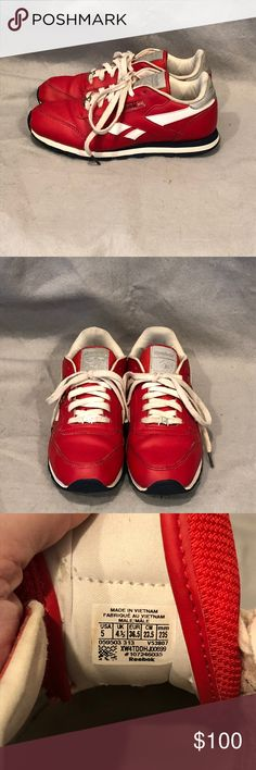 "*RARE*Size 6.5 Reebok Classic 30th Anniv Sneakers This listing is for a pair of size 5 men or 6.5 women Reebok Classic sneakers. 30th anniversary edition released in 2013, these are a throwback to the 80's and 90's, which is a hot trend this year! Red leather, with silver label on the tongue and silver around the heel area, with a silver ""R"" toggle on the laces. Navy blue and white soles, with very little wear, these were well taken care of and are rare and hard to find. No rips, stains or…"