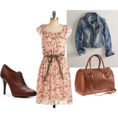 floral dress & jean jacket