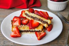 Nutella French Toast with Strawberries that can be substituted to be dairy free:) Use Almond milk and coconut oil!