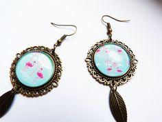 """Boucles d'oreilles bronze """" Les flamants roses de l'été"""" : Boucles d'oreille par a-fleur-de-perles                                                                                                                                                     Plus"""
