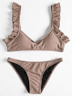 SHARE & Get it FREE | Frilled Hem Striped Bikini Set - Coffee SFor Fashion Lovers only:80,000+ Items • New Arrivals Daily Join Zaful: Get YOUR $50 NOW!